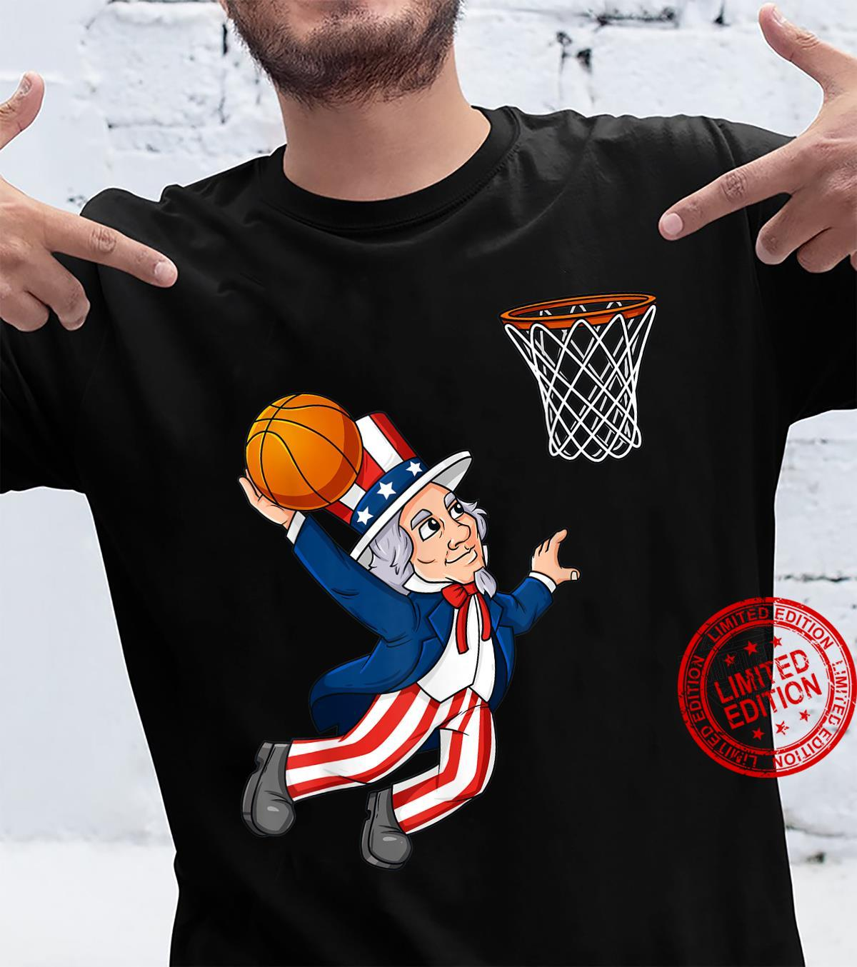 Basketball Uncle Sam 4th Of July Patriotic Dunking Shirt