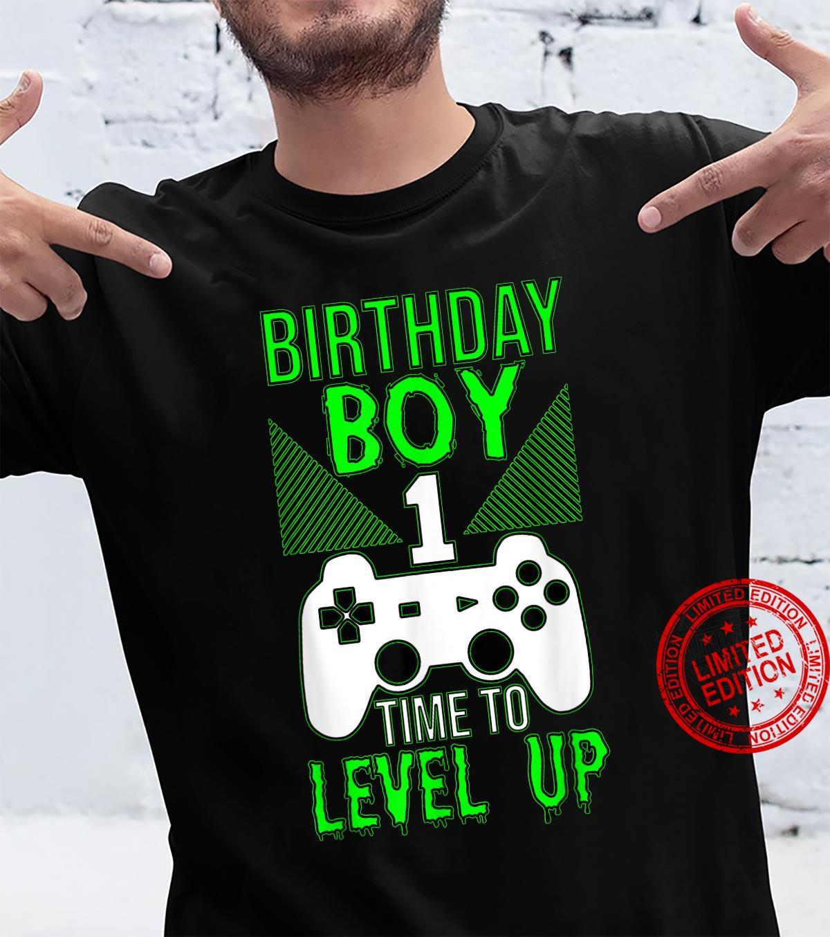 Birthday Boy 1 Time To Level Up Gamer 1st Birthday Shirt