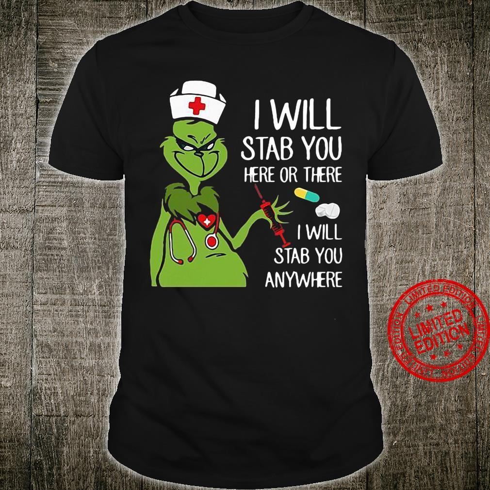 Grinch Nurse I will stab you here or there I will stab you anywhere Women T-Shirt