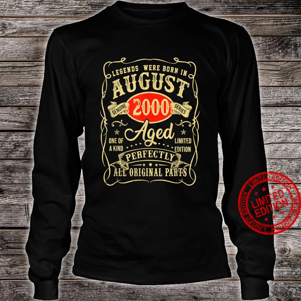 Legends Were Born In August 2000 21st Birthday Shirt long sleeved