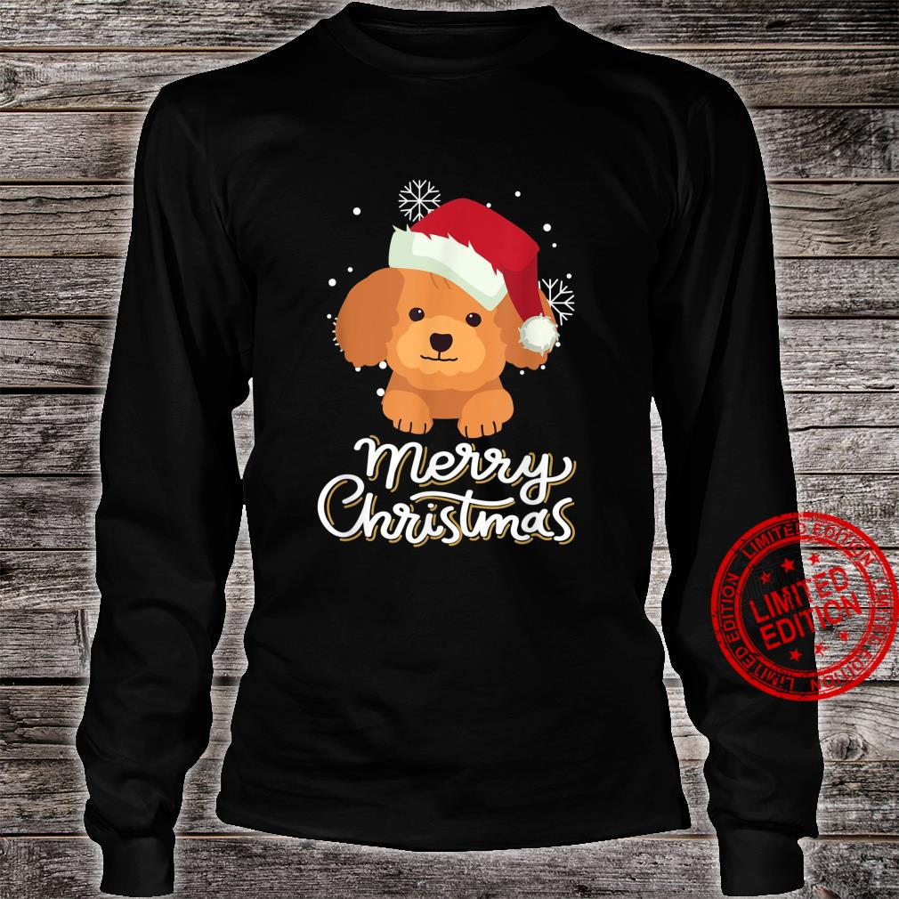 Merry Christmas Poodle Shirt long sleeved