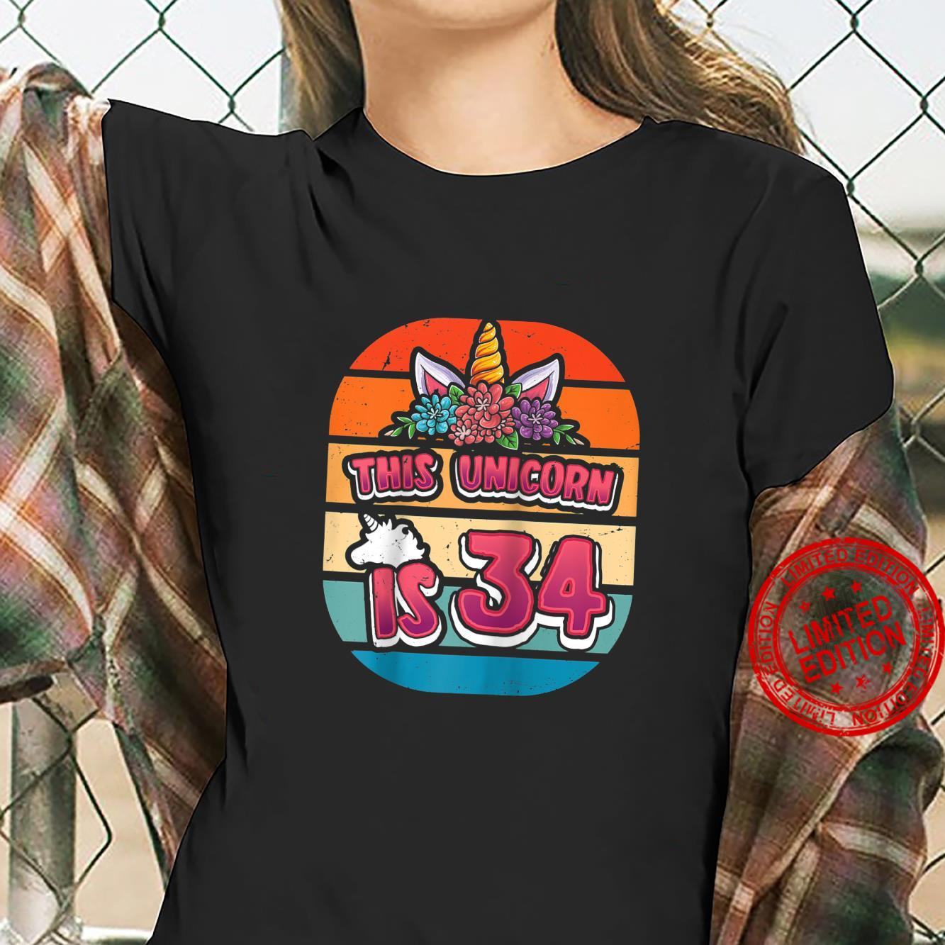 This Unicorn is 34 Thirtyfour Years Old Girl 34th Bday Shirt ladies tee