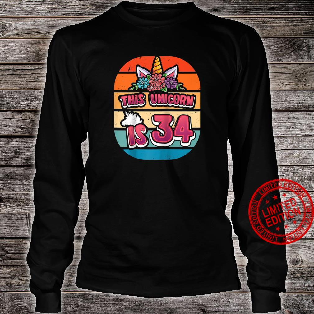 This Unicorn is 34 Thirtyfour Years Old Girl 34th Bday Shirt long sleeved