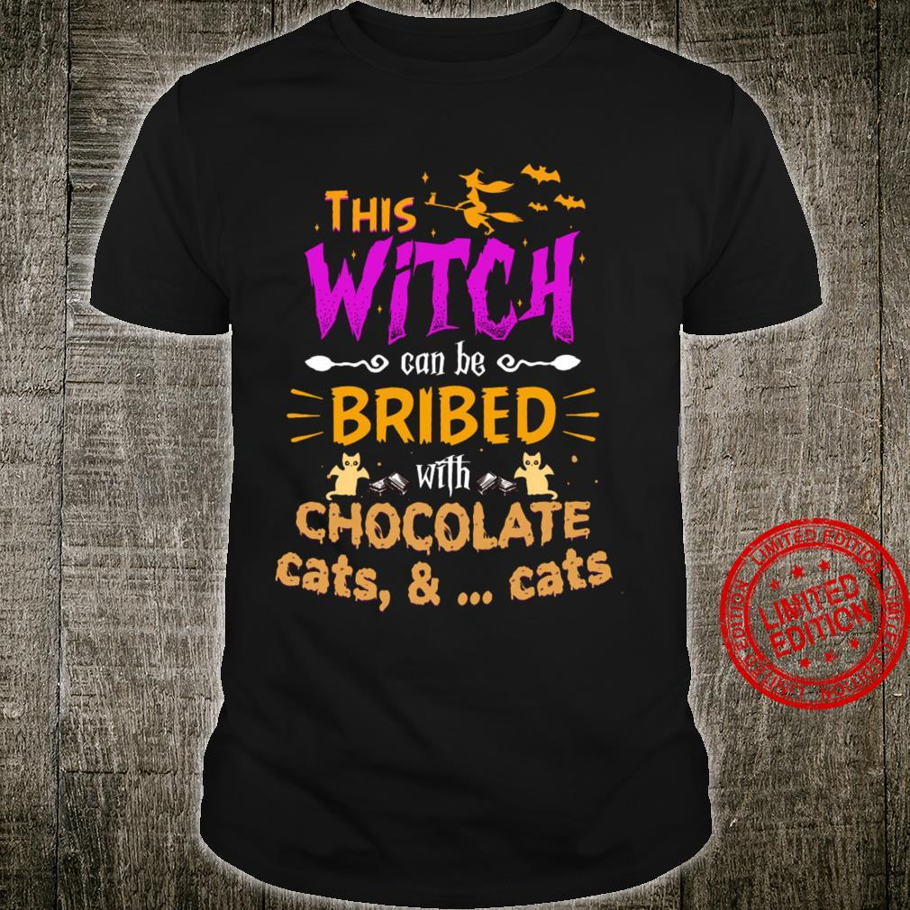 This Witch Can Be Bribed With Chocolate Cats Shirt