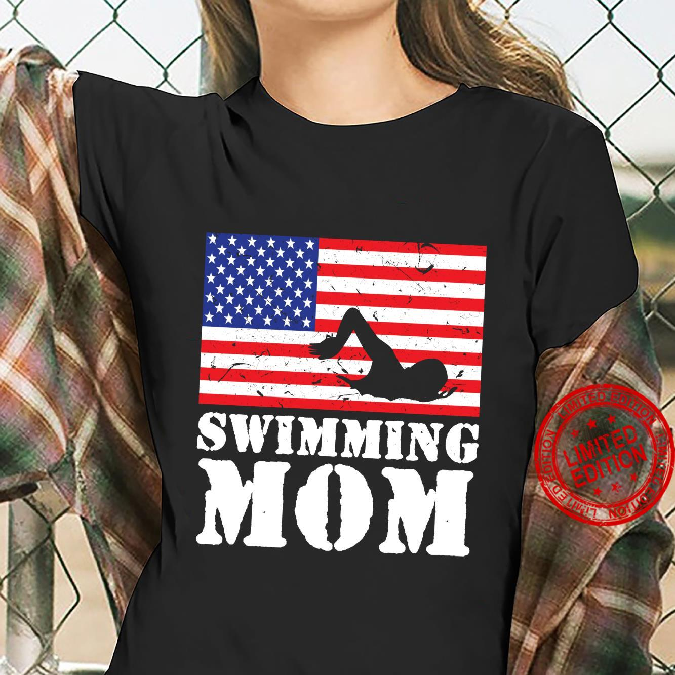 USA American Distressed Flag Swimming Mom For Her Shirt ladies tee