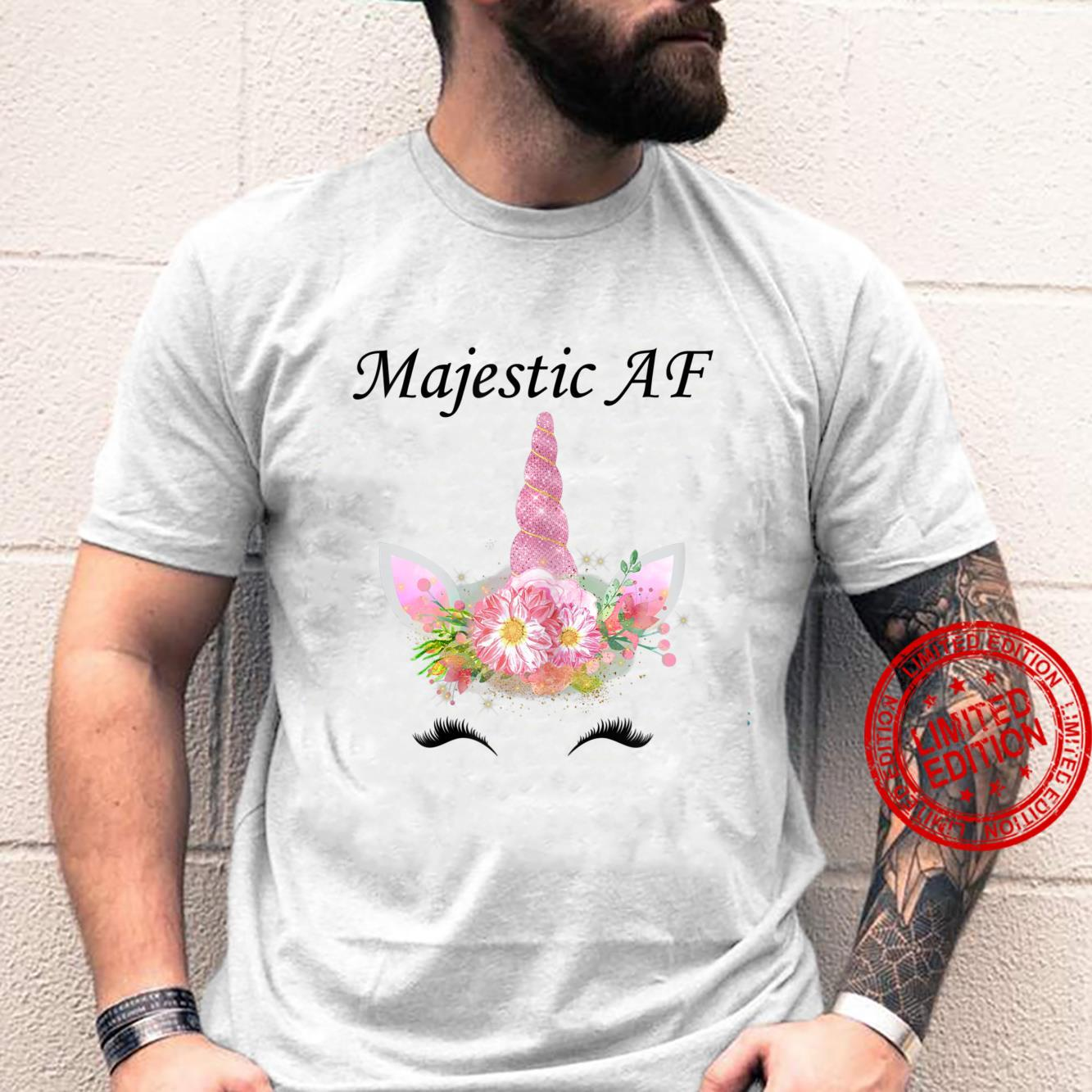Womens Majestic AF Shirt,Magical Cute Unicorn Face Pink Floral Shirt