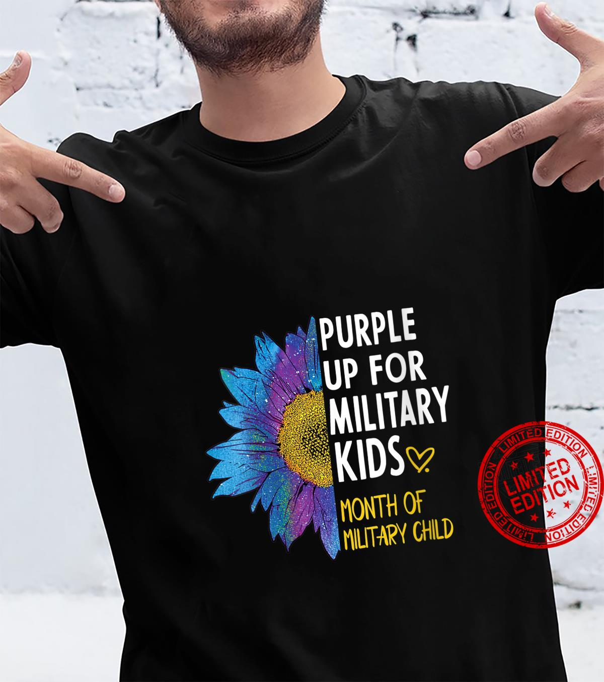 Womens Purple up for Military Military Child Month Sunflower Shirt