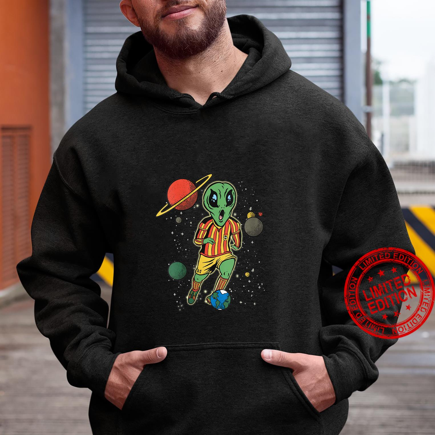 Womens Soccer Player in Space with Alien Soccer Shirt hoodie
