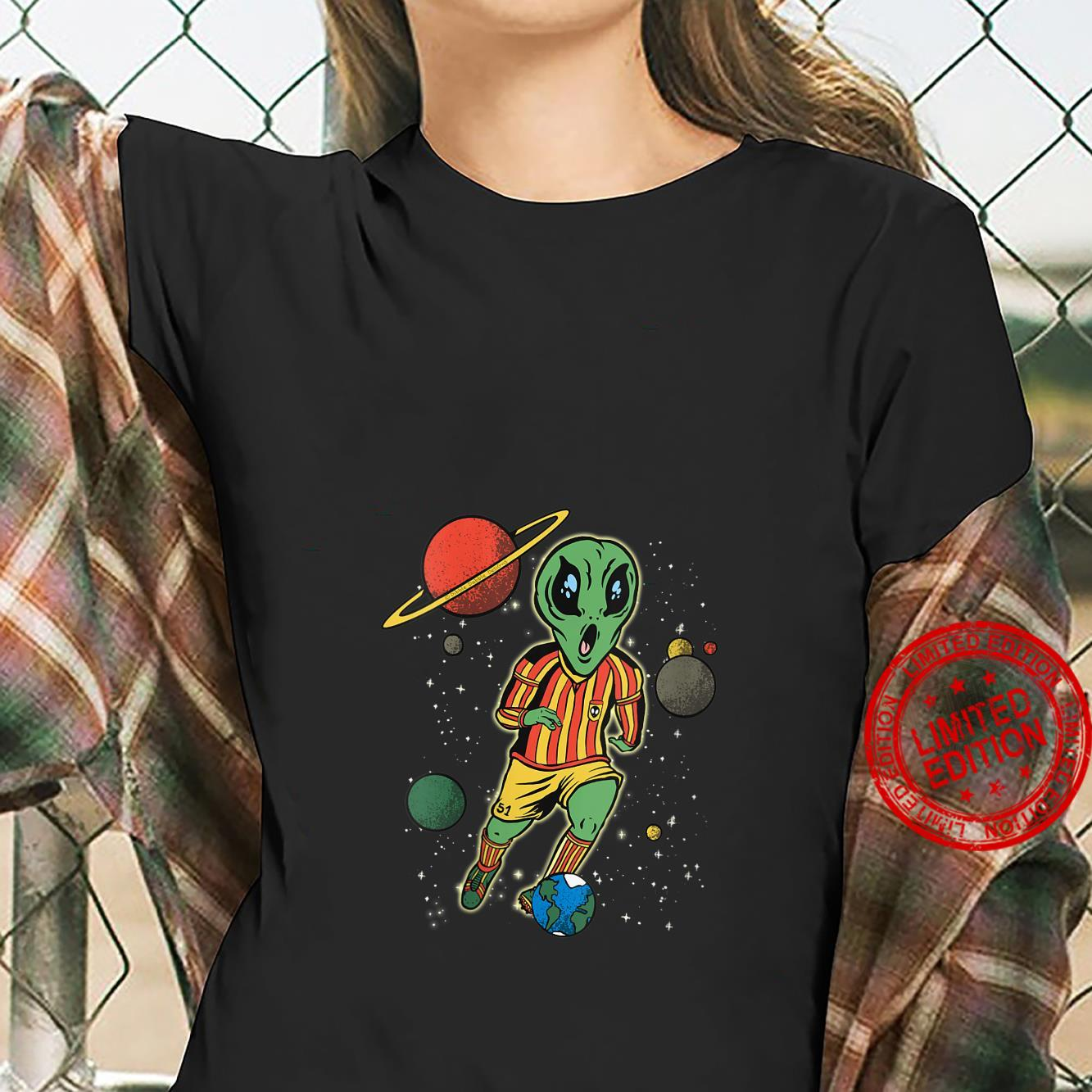 Womens Soccer Player in Space with Alien Soccer Shirt ladies tee