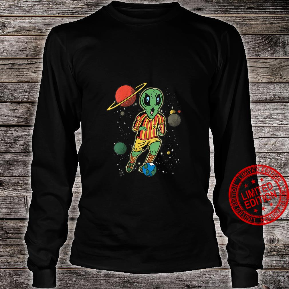 Womens Soccer Player in Space with Alien Soccer Shirt long sleeved