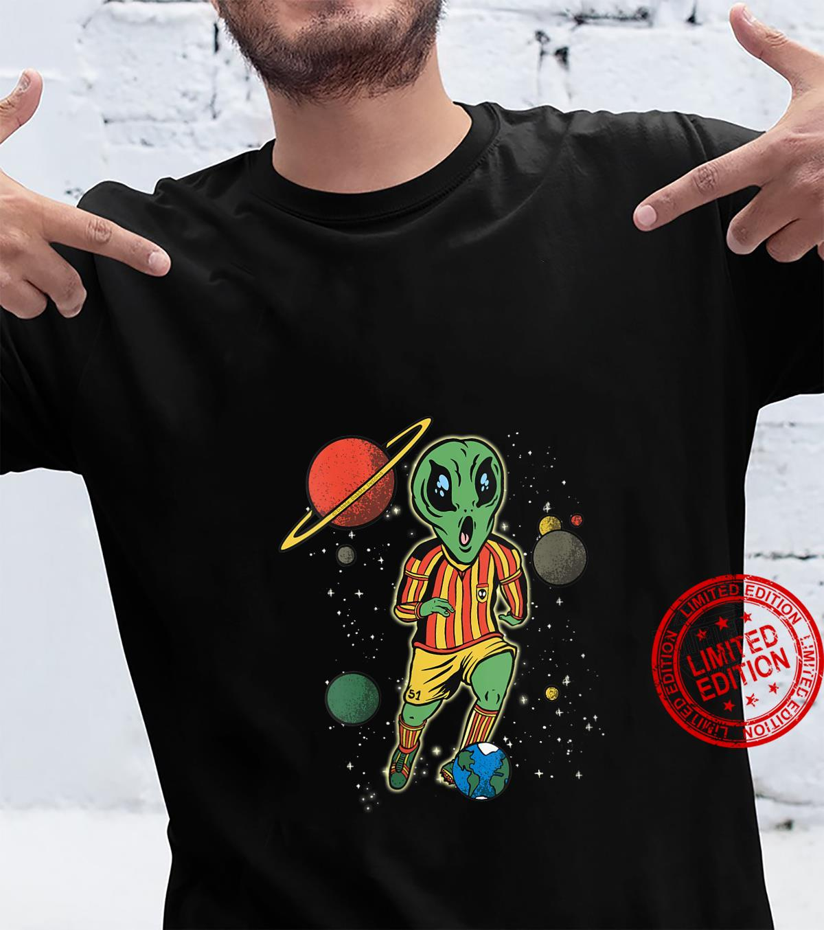 Womens Soccer Player in Space with Alien Soccer Shirt