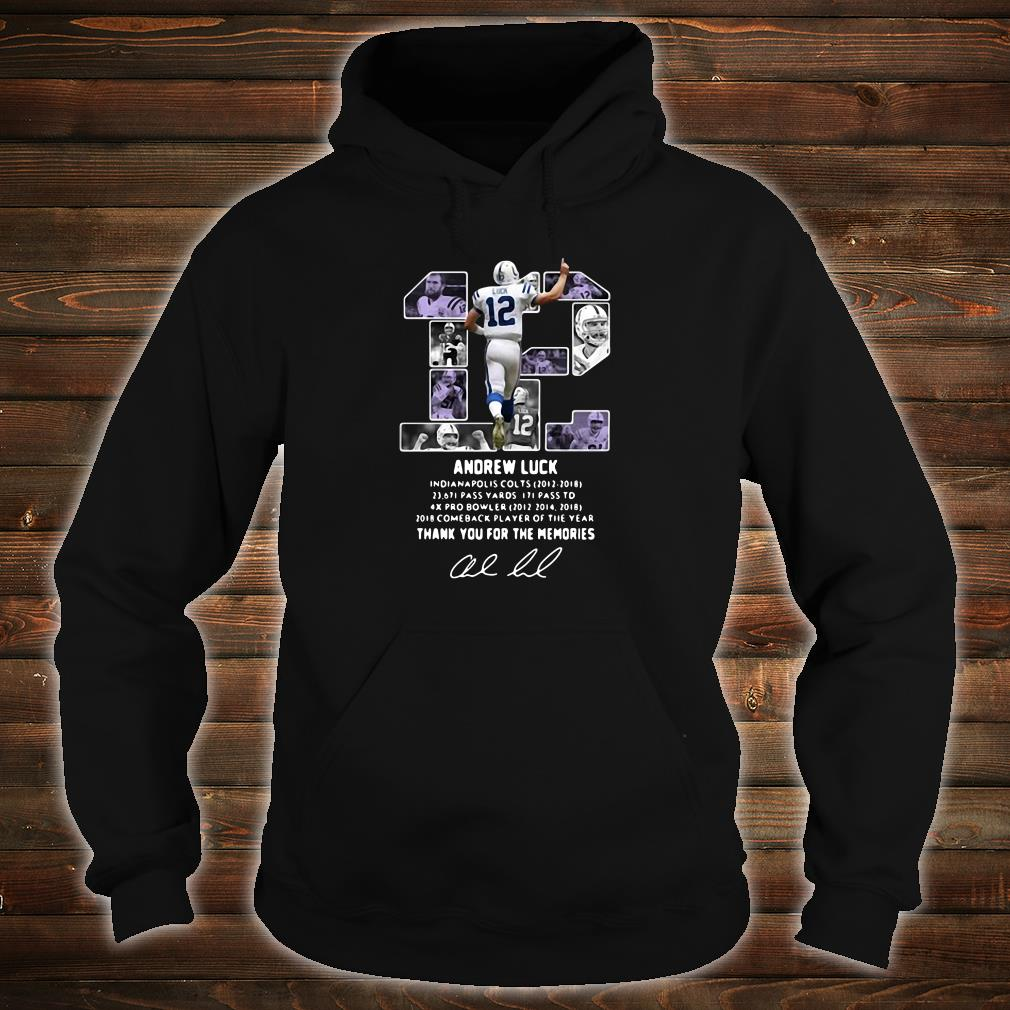 12 Andrew Luck thank you for the memories signature shirt hoodie
