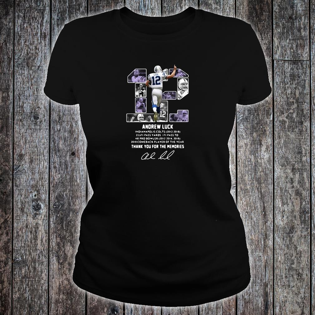 12 Andrew Luck thank you for the memories signature shirt ladies tee