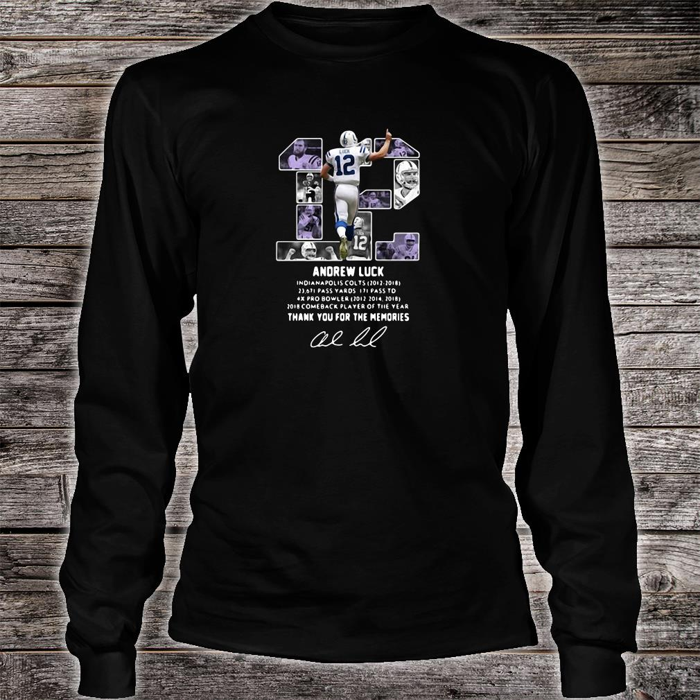 12 Andrew Luck thank you for the memories signature shirt long sleeved