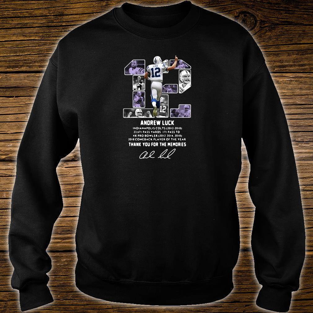 12 Andrew Luck thank you for the memories signature shirt sweater