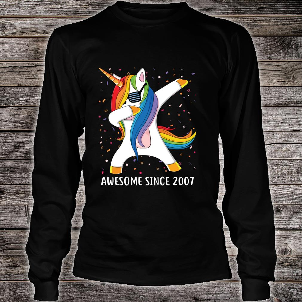 12 Years Old 12th Birthday Unicorn Dab Awesome Since 2007 Shirt long sleeved