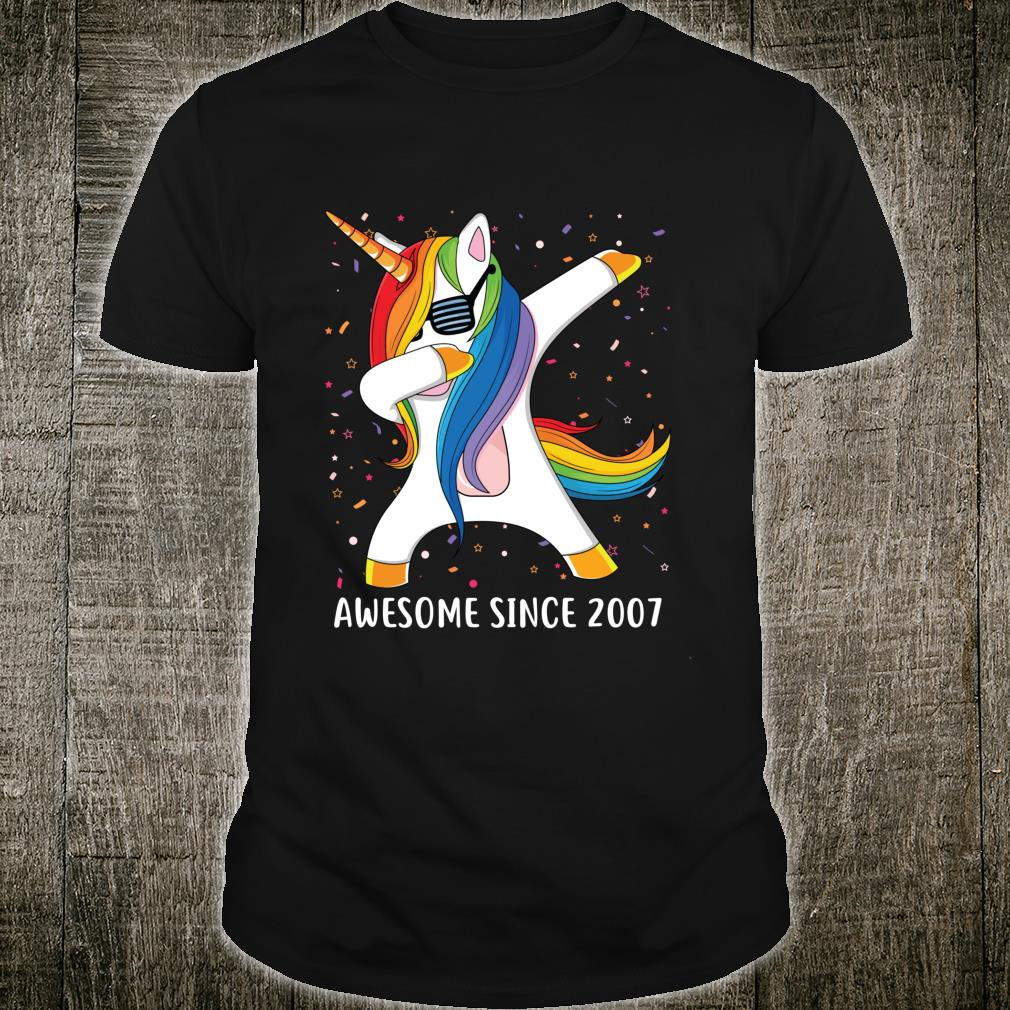 12 Years Old 12th Birthday Unicorn Dab Awesome Since 2007 Shirt
