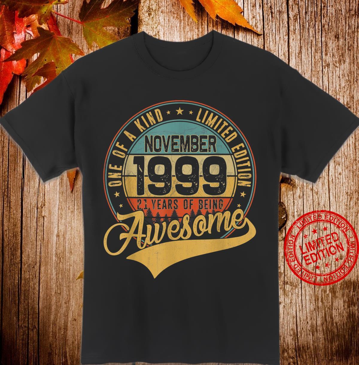 21st Birthday Retro November 1999 21 Yrs Old 21st Bday Shirt