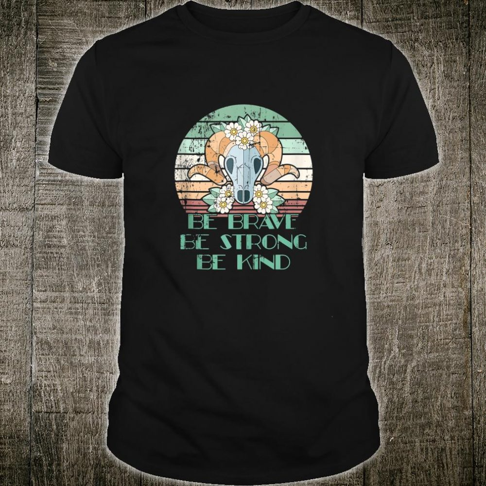 Be Strong, Brave and Kind Retro Distressed Hippie Heart Yoga Shirt