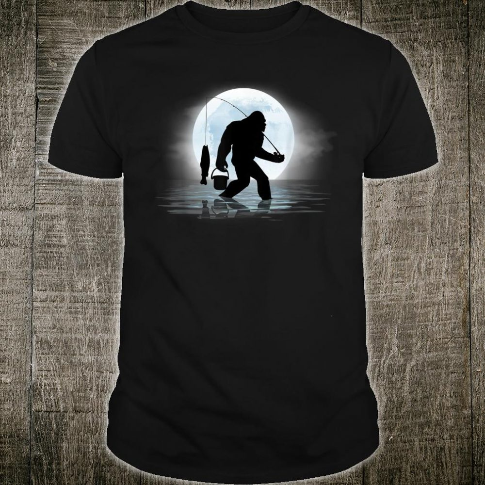 Bigfoot Fishing Shirt Sasquatch and Fish Night Fishing Shirt