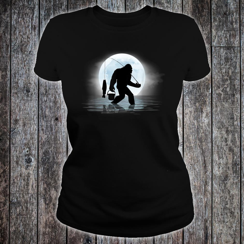 Bigfoot Fishing Shirt Sasquatch and Fish Night Fishing Shirt ladies tee