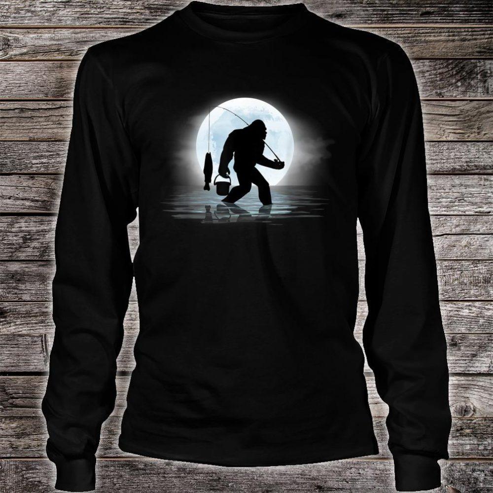 Bigfoot Fishing Shirt Sasquatch and Fish Night Fishing Shirt long sleeved