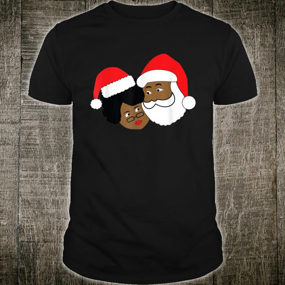 Black Santa Claus and Mrs. Claus Ethnic Christmas Shirt