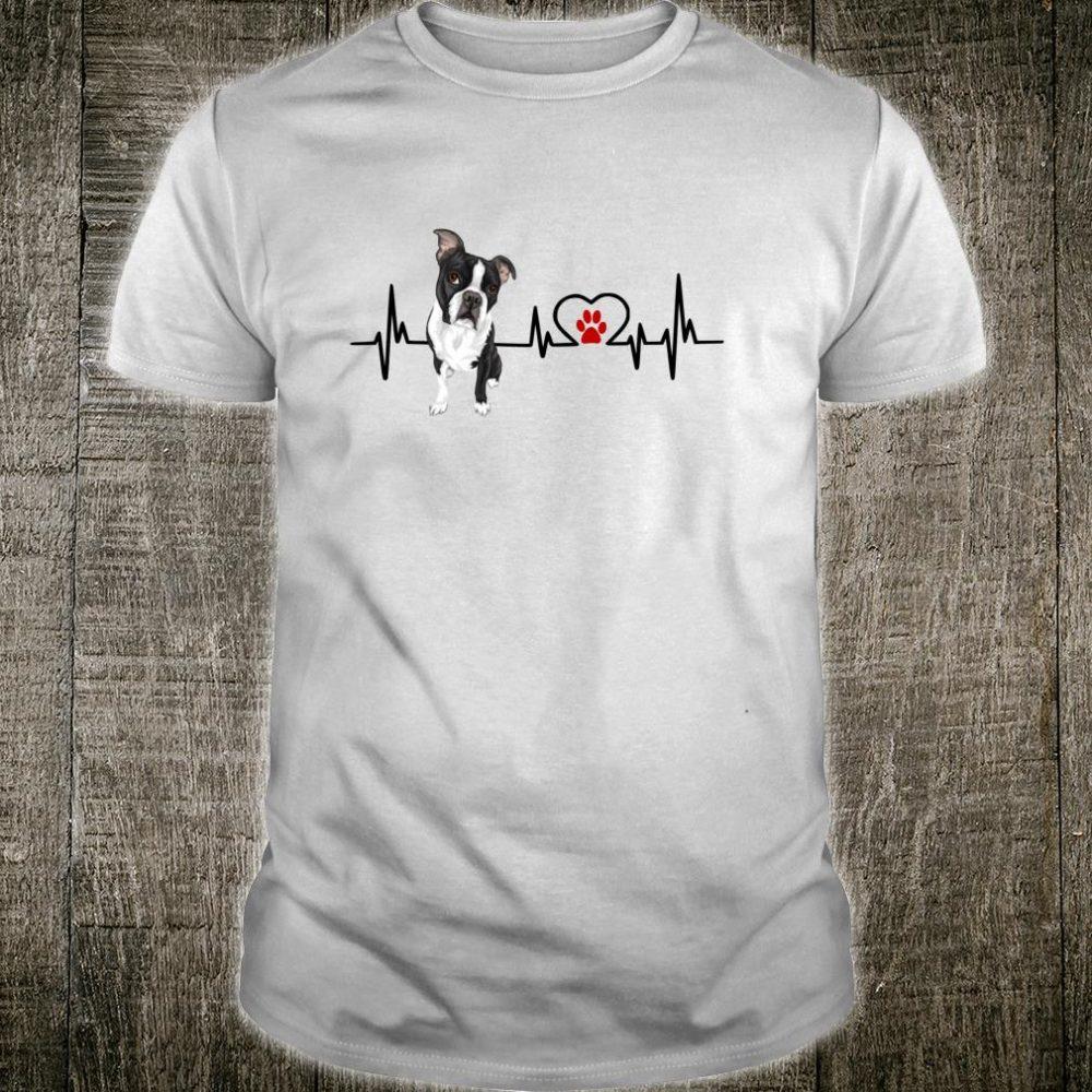 Boston Terrier Heartbeat EKG Heart Line Dogs Shirt
