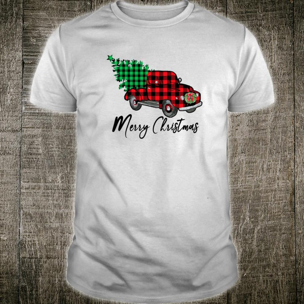 Buffalo Plaid Red Truck's Christmas Vintage Christmas Shirt