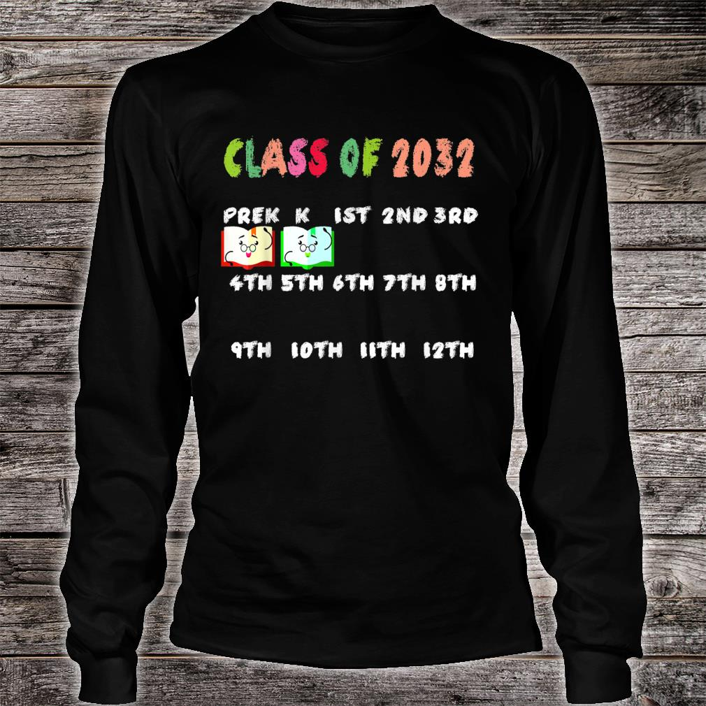 Class of 2032 Grow with me Tshirt with space for checkmarks Shirt long sleeved