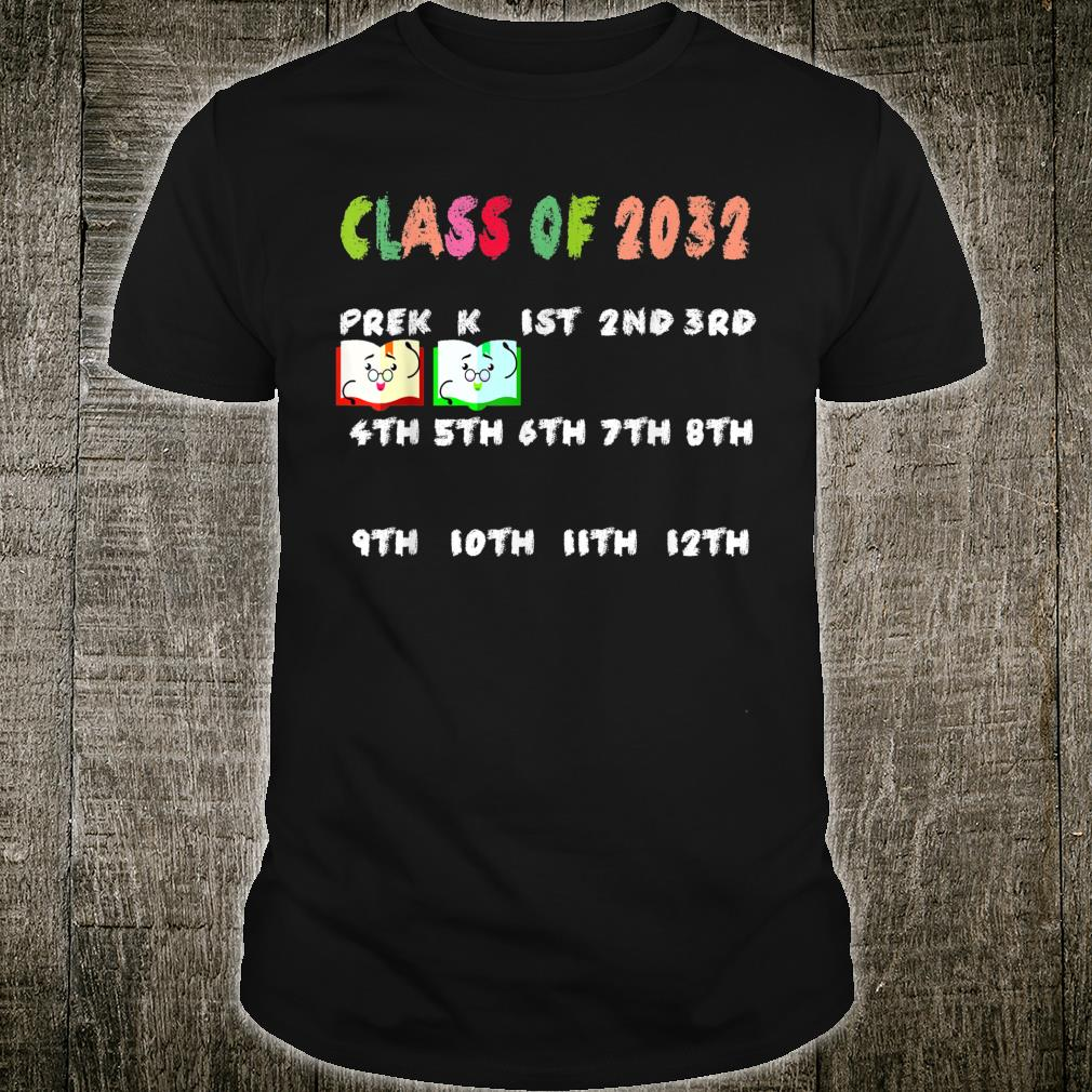 Class of 2032 Grow with me Tshirt with space for checkmarks Shirt