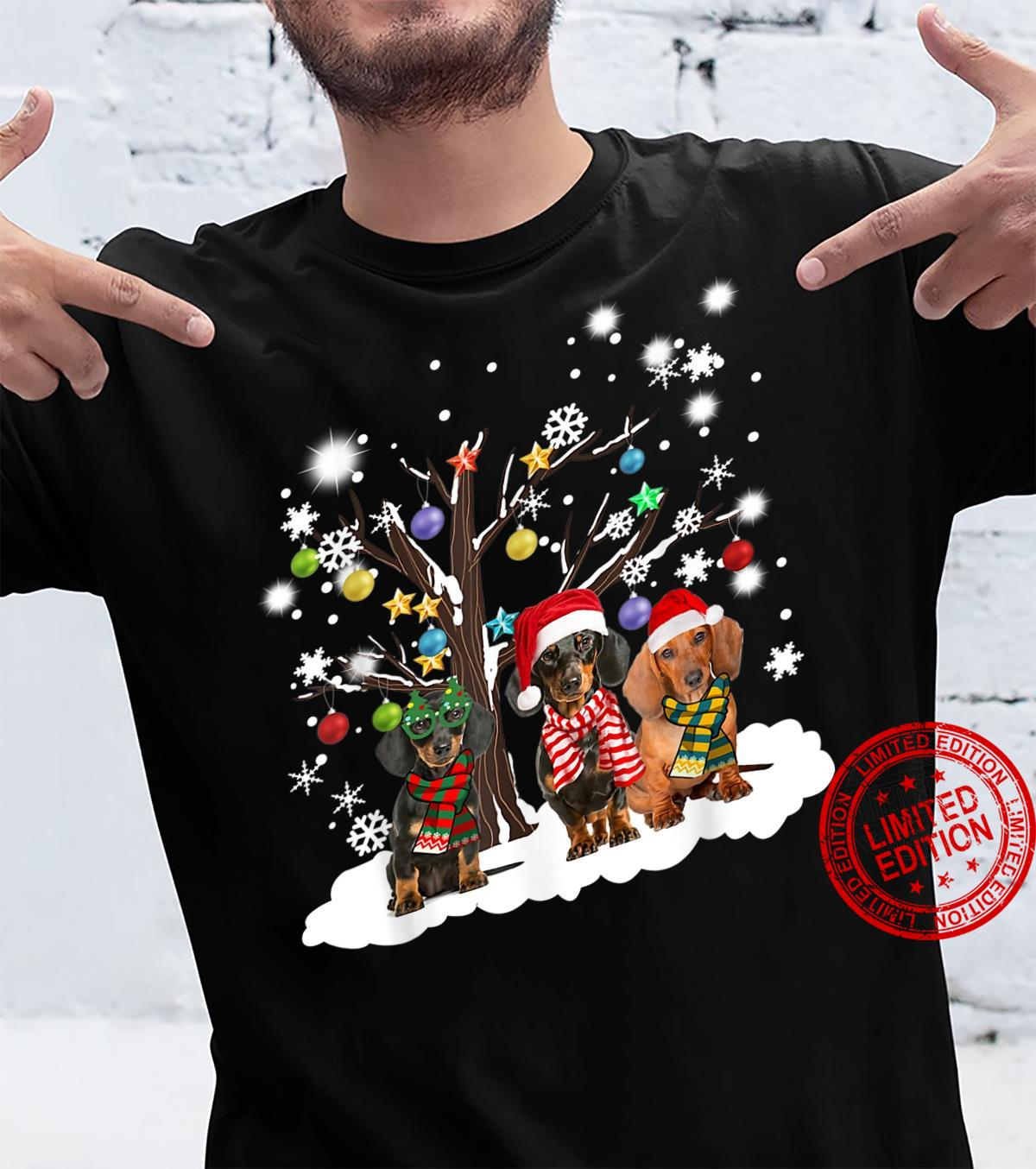 Dachshund Hat Santa Xmas Lights Christmas Ornaments Xmas Shirt