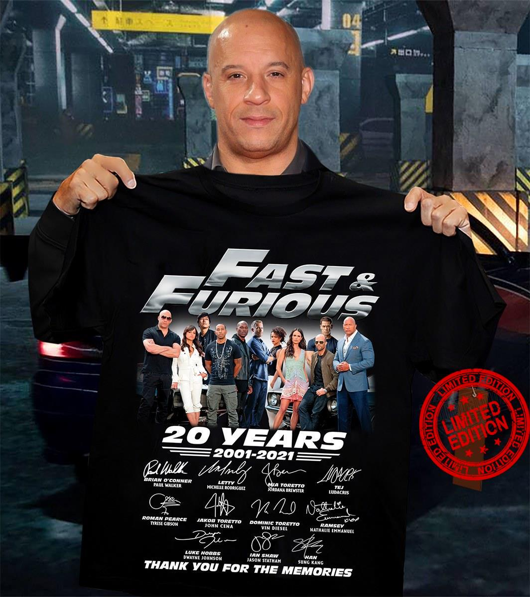 Fast & Furious 20 Years 2001-2021 Thank You For The Memories Shirt