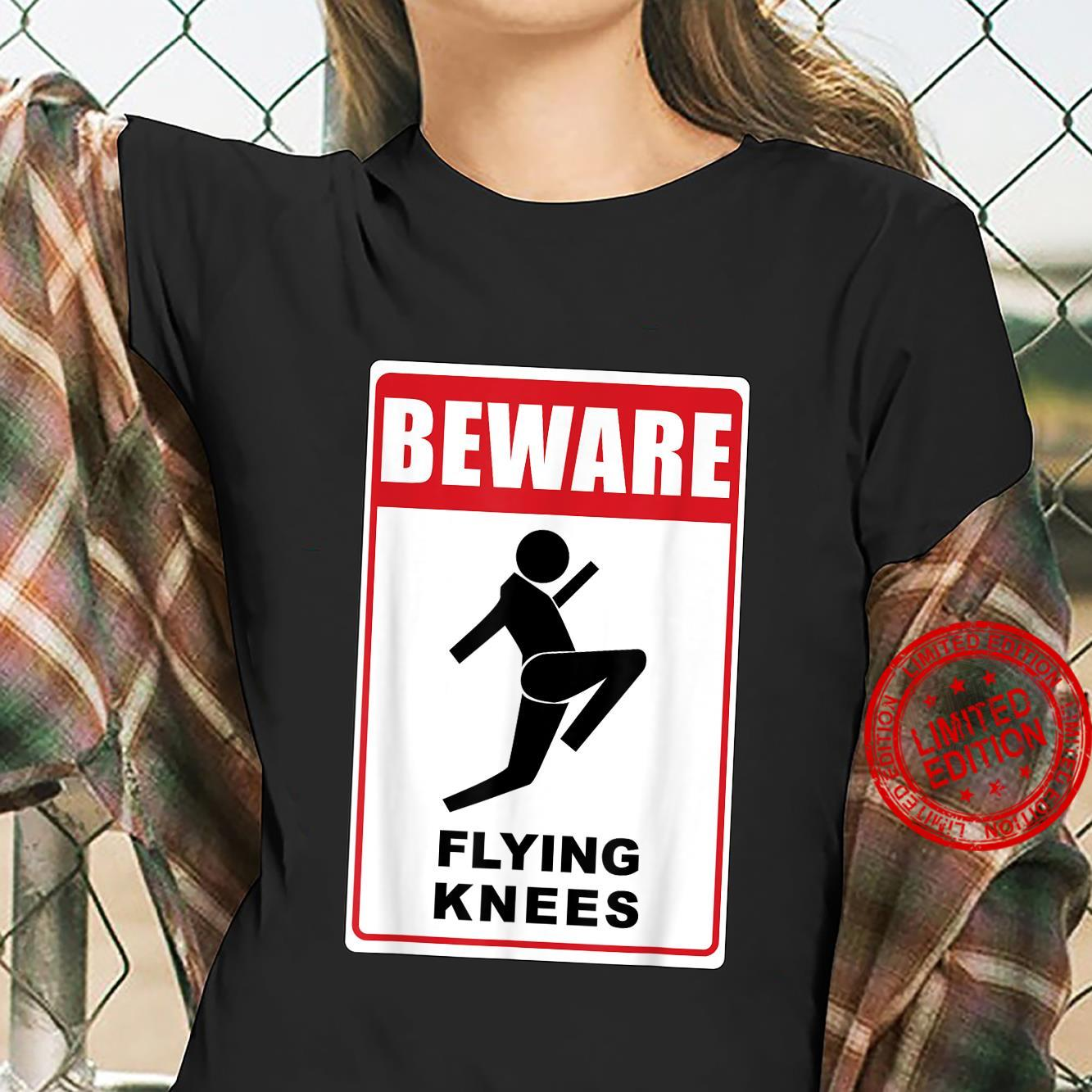 Funny Beware Knockout Knees are Flying Design Shirt ladies tee