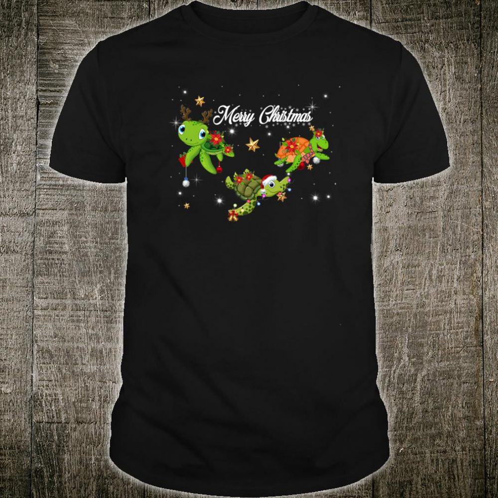 Funny Cute Merry Christmas Three Turtle Shirt