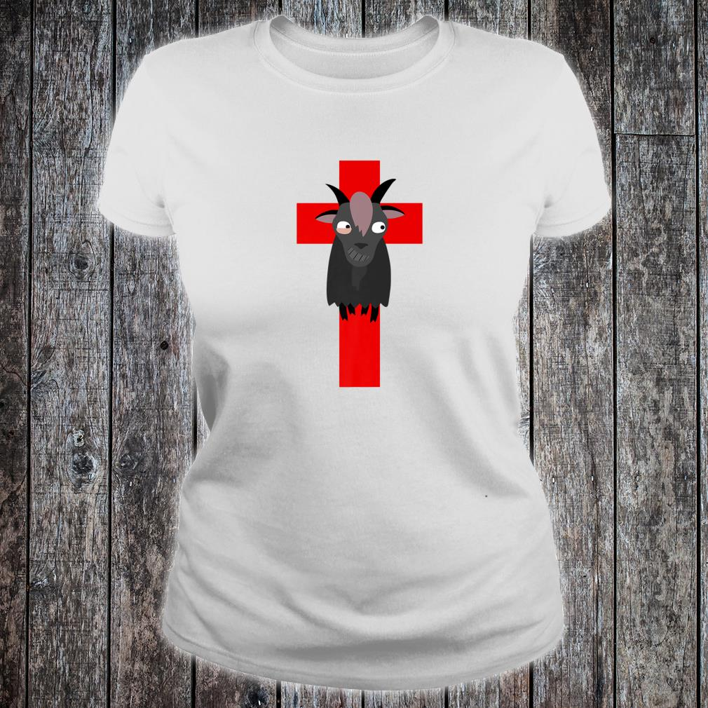 Goth Black Goat & Cross Design Shirt ladies tee