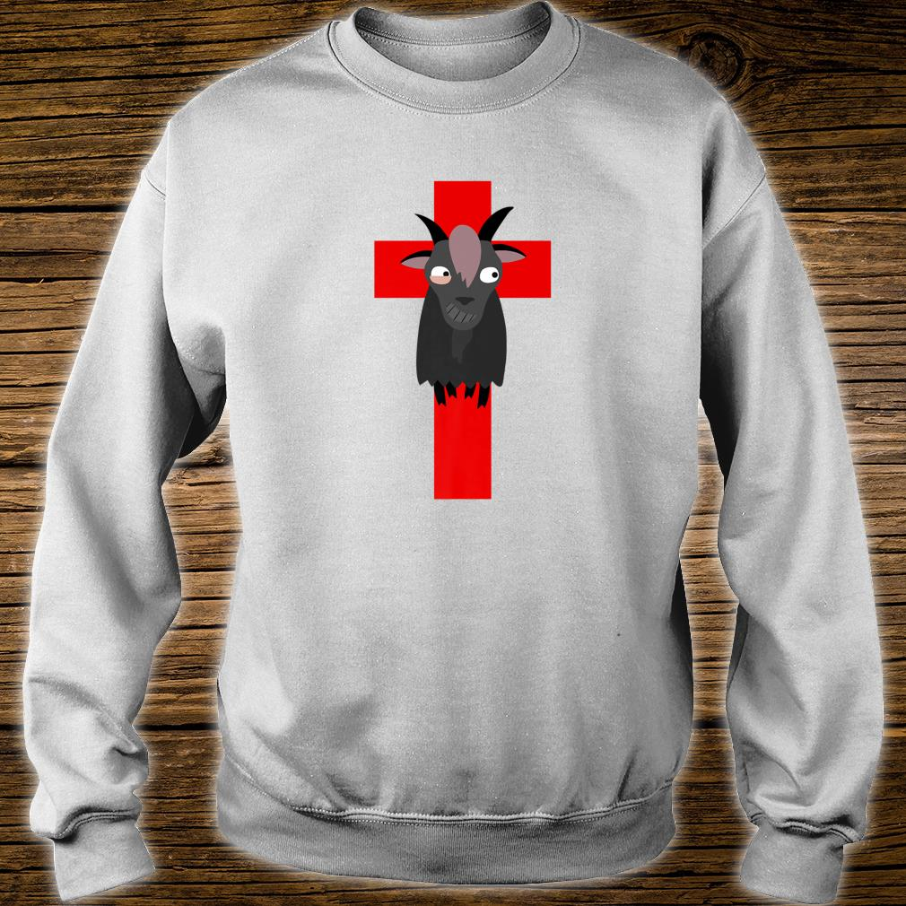 Goth Black Goat & Cross Design Shirt sweater