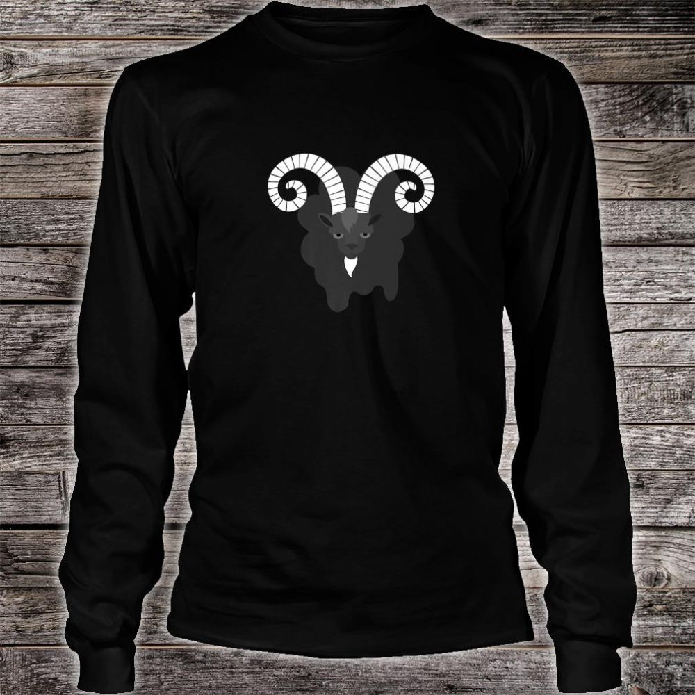 Goth Black Goat With White Horns Shirt long sleeved
