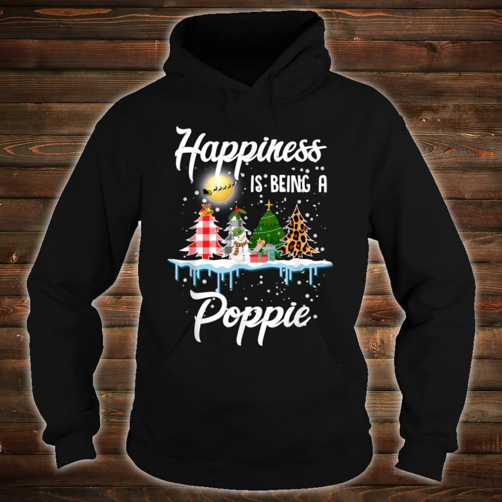 Happiness Is Being A Poppie Christmas Tree Leopard Plaid Shirt hoodie