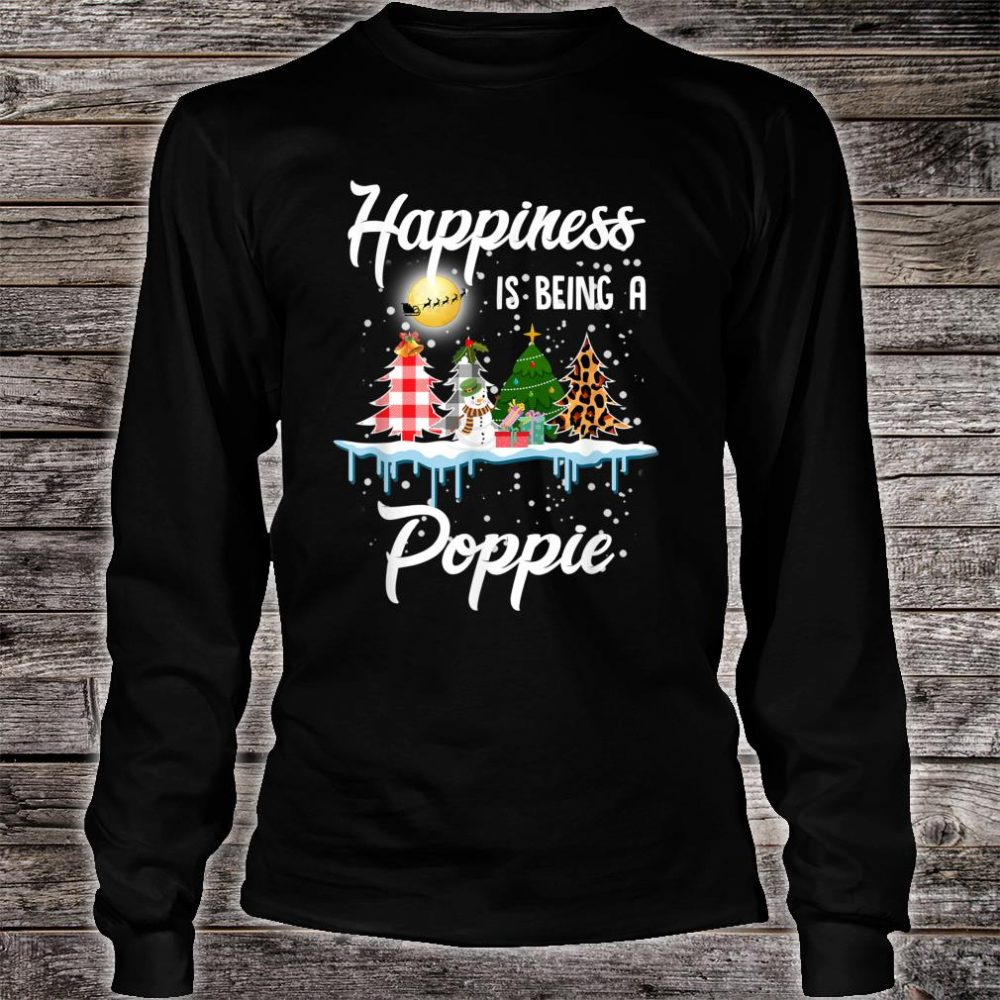 Happiness Is Being A Poppie Christmas Tree Leopard Plaid Shirt long sleeved