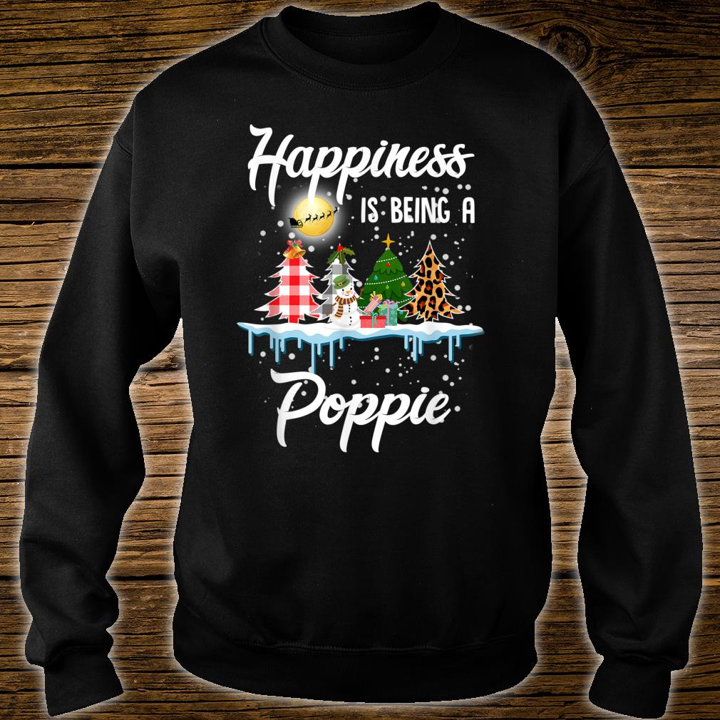 Happiness Is Being A Poppie Christmas Tree Leopard Plaid Shirt sweater