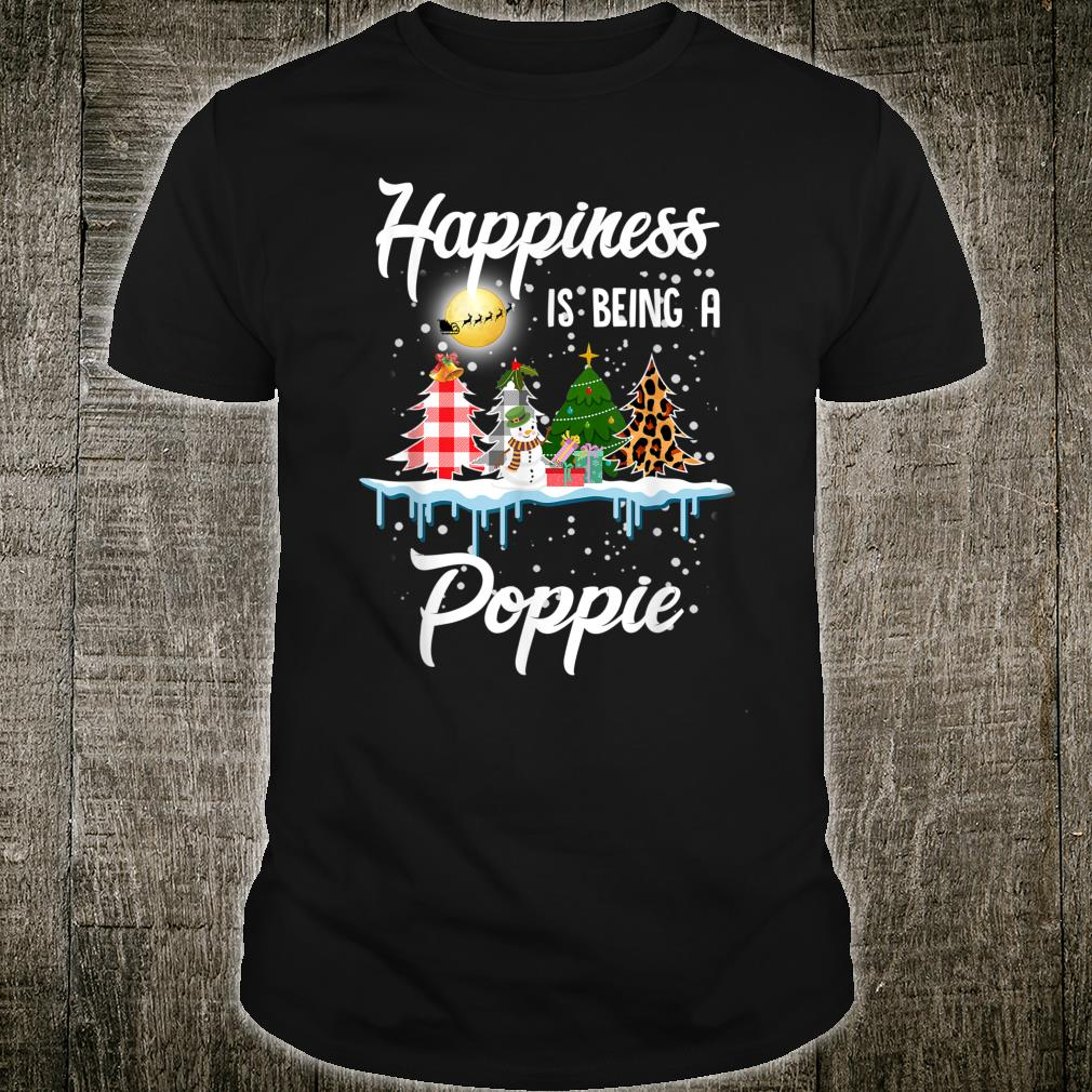Happiness Is Being A Poppie Christmas Tree Leopard Plaid Shirt