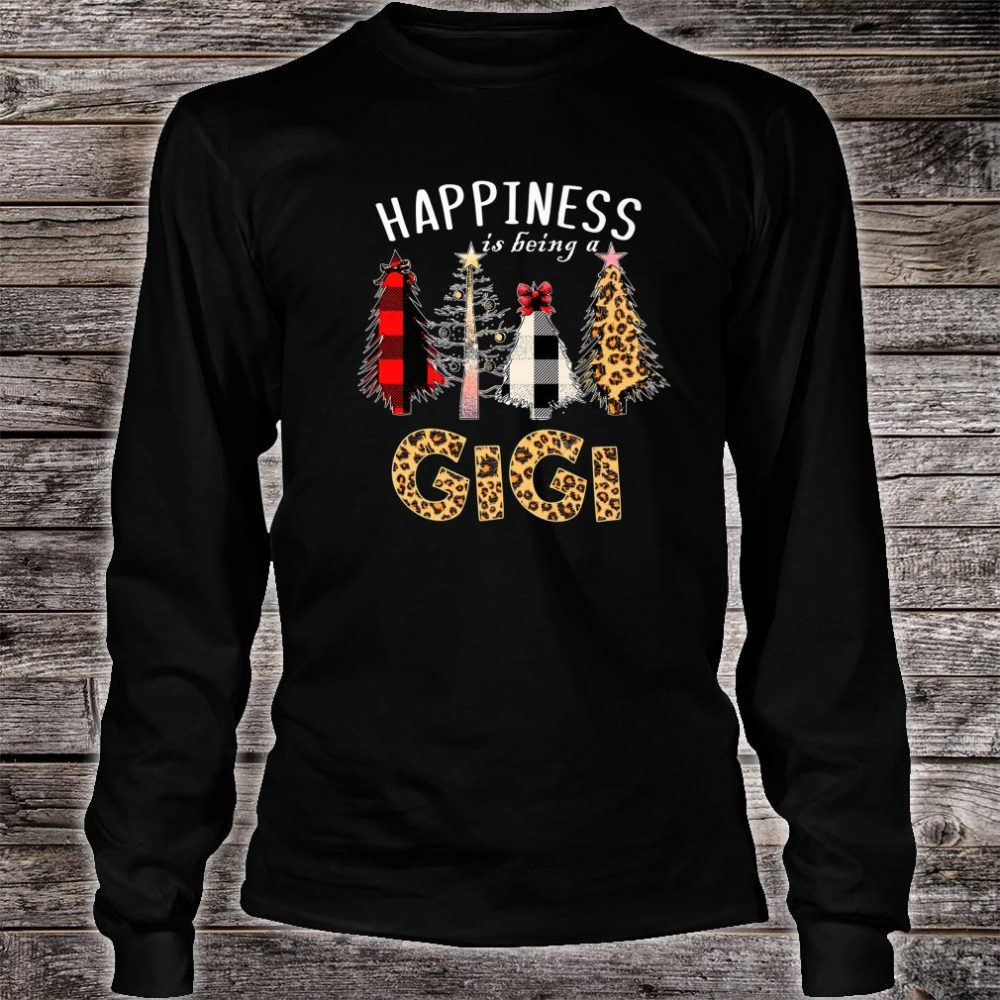 Happiness Is Being Gigi Christmas Leopard Plaid Tree Shirt long sleeved