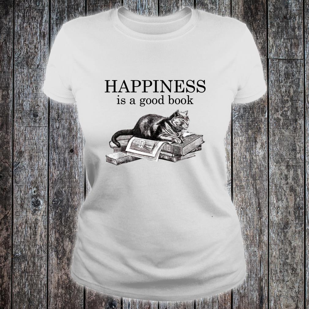 Happiness Is a Good Book Cat Book Shirt ladies tee