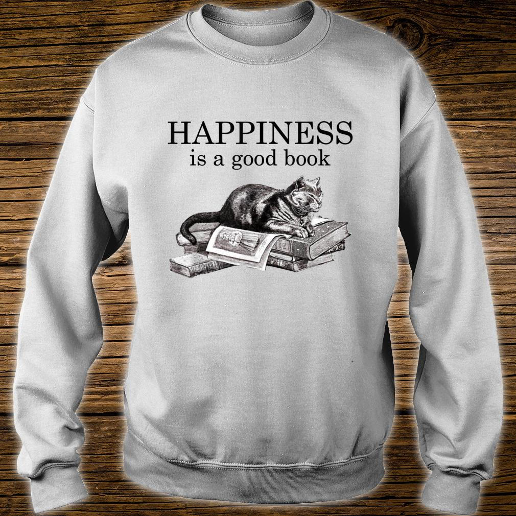 Happiness Is a Good Book Cat Book Shirt sweater