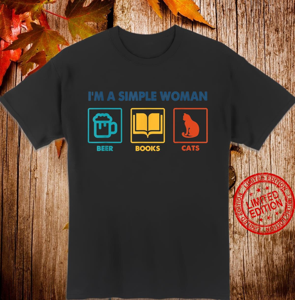 I'm A Simple Beer Books Cats Shirt