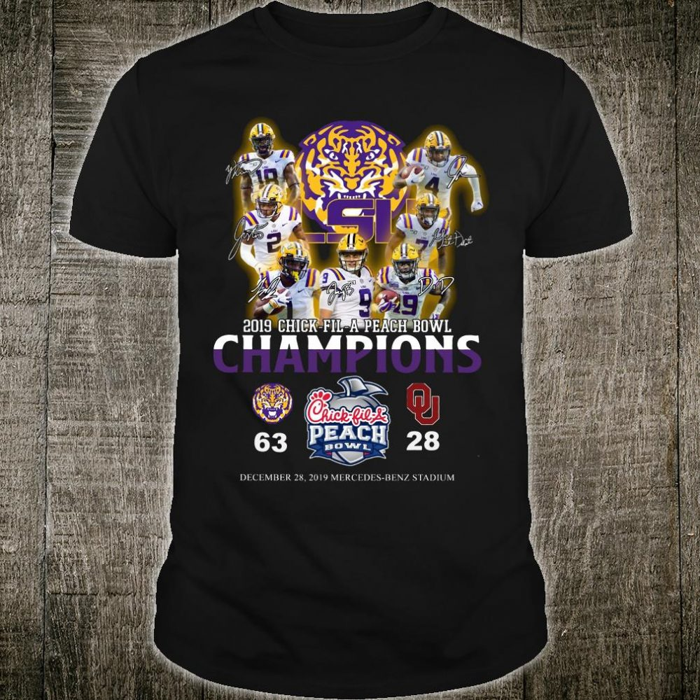 LSU 2019 chick fil a peach bowl champions shirt