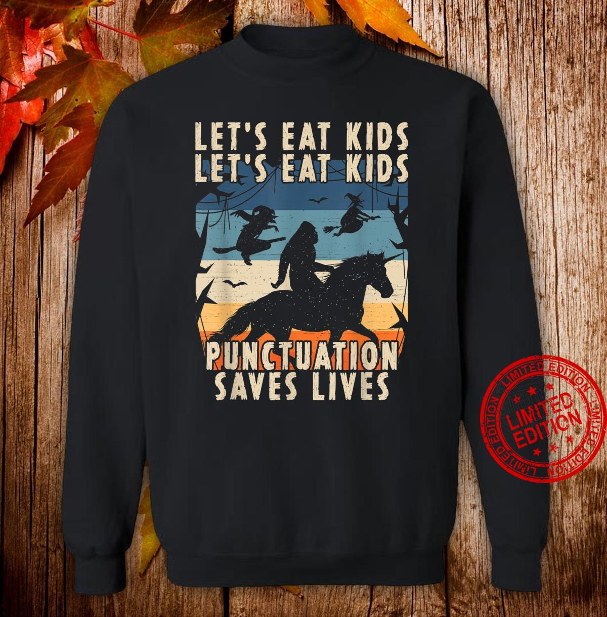 Lets Eat Punctuation Saves Lives Bigfoot Halloween Shirt sweater