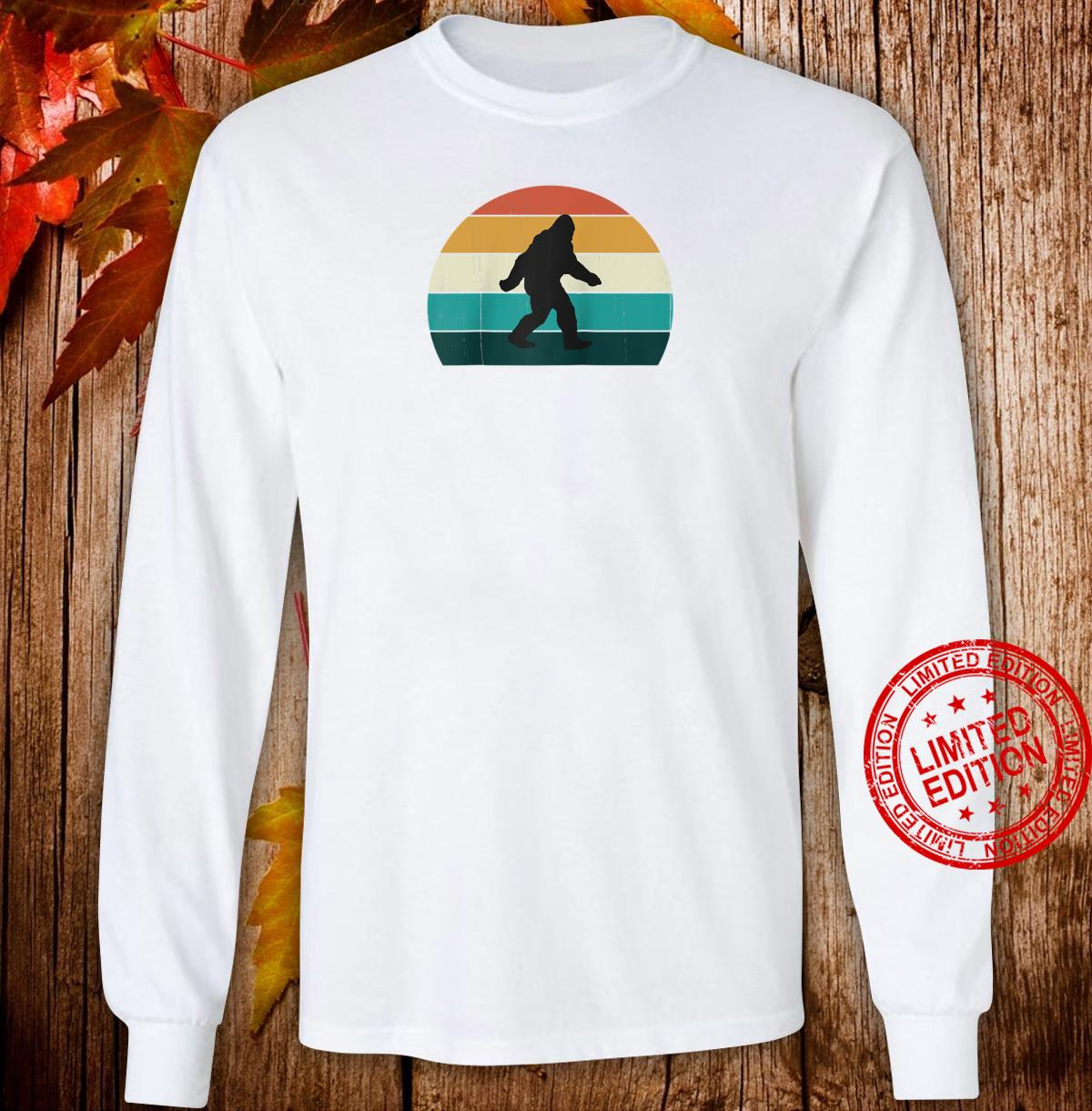 Retro Big Foot Cool Sunset Bigfoots Shirt long sleeved