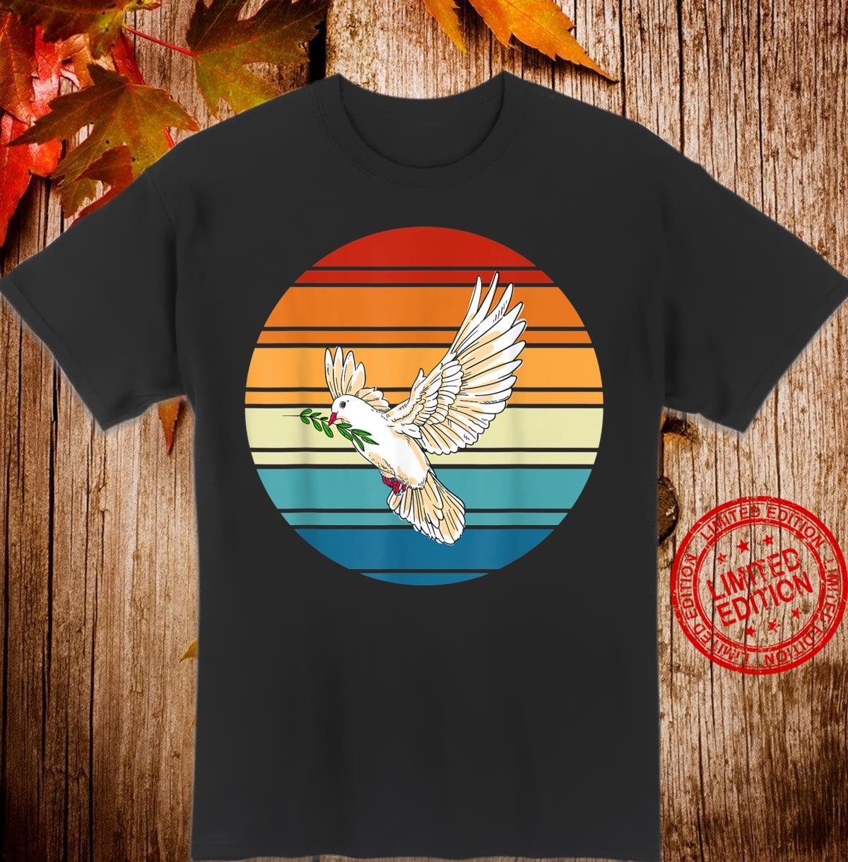 Tierliebhaber Vogel Geschenk Retro Friedenstaube Shirt